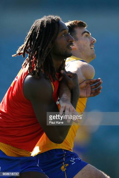 Nic Naitanui and Scott Lycett work on stoppage drills during a West Coast Eagles AFL training session at Subiaco Oval on May 15 2018 in Perth...