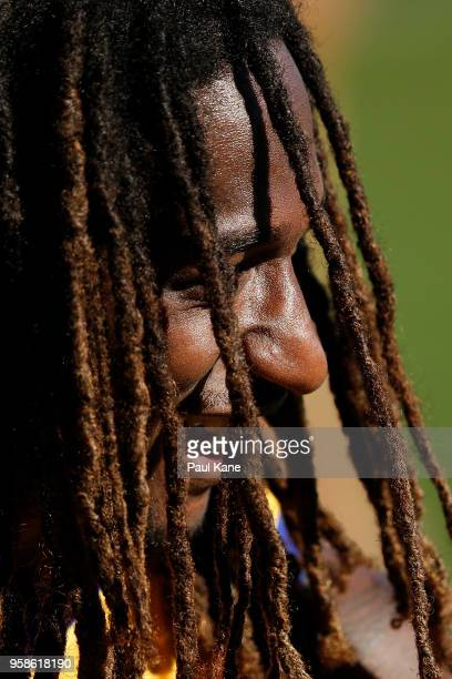 Nic Naitanui looks on during a West Coast Eagles AFL training session at Subiaco Oval on May 15 2018 in Perth Australia