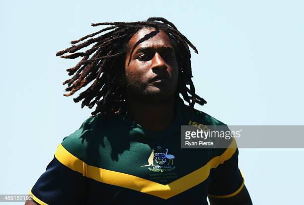 Nic Naitanui of Australia looks on during the Australian International Rules practice match against the NSW Gaelic Football team at Sydney Olympic...