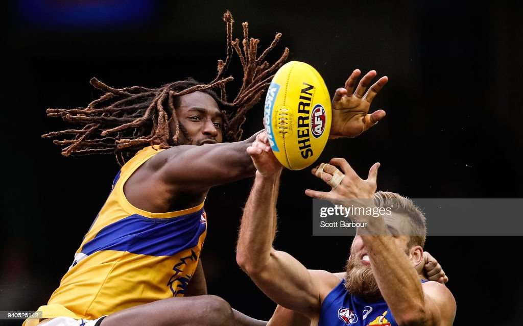 Nic Naitanui of the Eagles and Jackson Trengove of the Bulldogs compete for the ball during the round two AFL match between the Western Bulldogs and the West Coast Eagles at Etihad Stadium on April 1, 2018 in Melbourne, Australia.