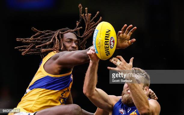 Nic Naitanui of the Eagles and Jackson Trengove of the Bulldogs compete for the ball during the round two AFL match between the Western Bulldogs and...