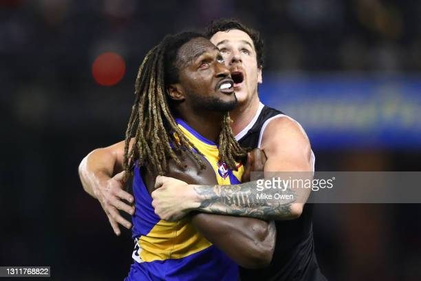 Nic Naitanui of the Eagles and Jake Carlisle of the Saints compete in the ruck during the round four AFL match between the St Kilda Saints and the...
