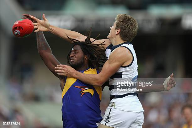 Nic Naitanui of the Eagles and Rhys Stanley of the Cats compete for the ball during the round seven AFL match between the Geelong Cats and the West...