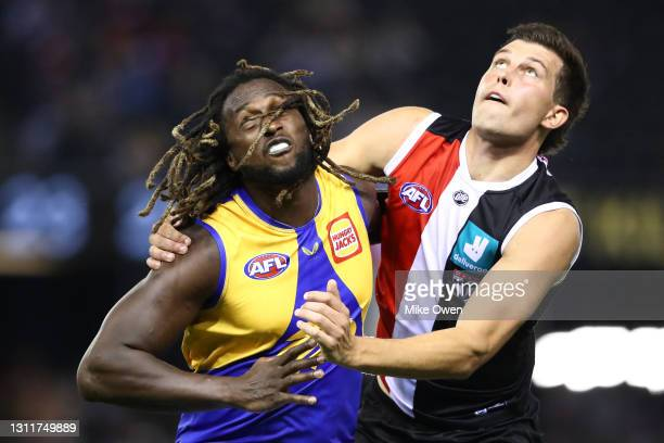Nic Naitanui of the Eagles and Rowan Marshall of the Saints compete in the ruck during the round four AFL match between the St Kilda Saints and the...