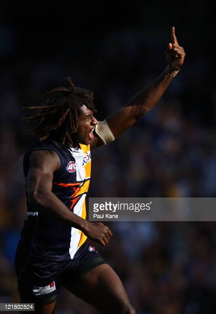 Nic Naitanui of the Eagles celebrates a goal during the round 22 AFL match between the West Coast Eagles and the Essendon Bombers at Patersons...