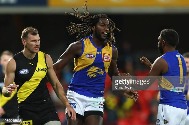 Nic Naitanui of the Eagles celebrates after scoring a goal during the round 14 AFL match between the Richmond Tigers and the West Coast Eagles at...