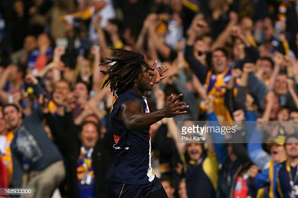Nic Naitanui of the Eagles celebrates kicking the winning goal during the round eight AFL match between the West Coast Eagles and the North Melbourne...