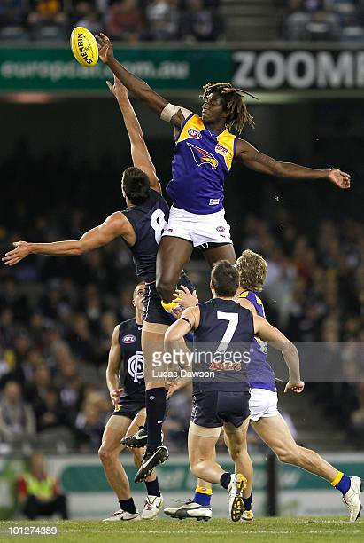 Nic Naitanui of the Eagles contests in the ruck during the round 10 AFL match between the Carlton Blues and the West Coast Eagles at Etihad Stadium...
