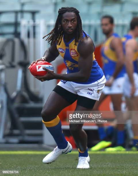 Nic Naitanui of the Eagles in action during the 2018 AFL round 17 match between the Collingwood Magpies and the West Coast Eagles at the Melbourne...