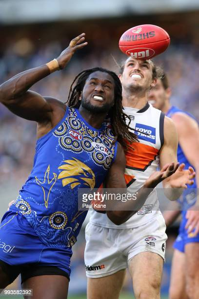Nic Naitanui of the Eagles juggles a mark the during the round 16 AFL match between the West Coast Eagles and the Greater Western Sydney Giants at...