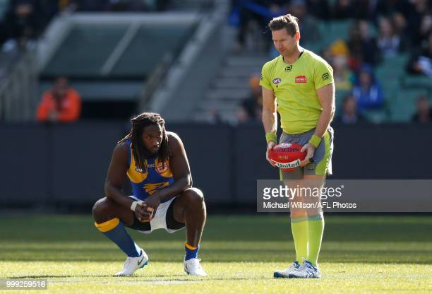 Nic Naitanui of the Eagles looks on during the 2018 AFL round 17 match between the Collingwood Magpies and the West Coast Eagles at the Melbourne...
