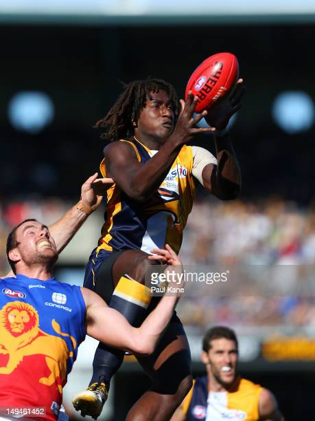 Nic Naitanui of the Eagles marks the ball against Ben Hudson of the Lions during the round 18 AFL match between the West Coast Eagles and the...