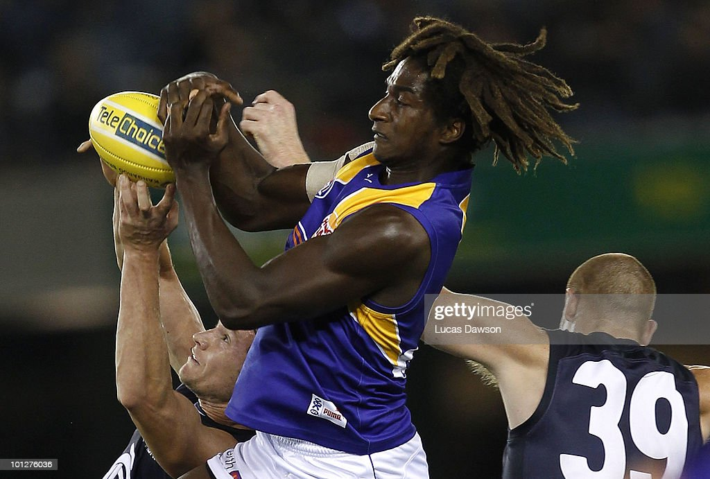 Nic Naitanui of the Eagles marks the ball during the round 10 AFL match between the Carlton Blues and the West Coast Eagles at Etihad Stadium on May 30, 2010 in Melbourne, Australia.