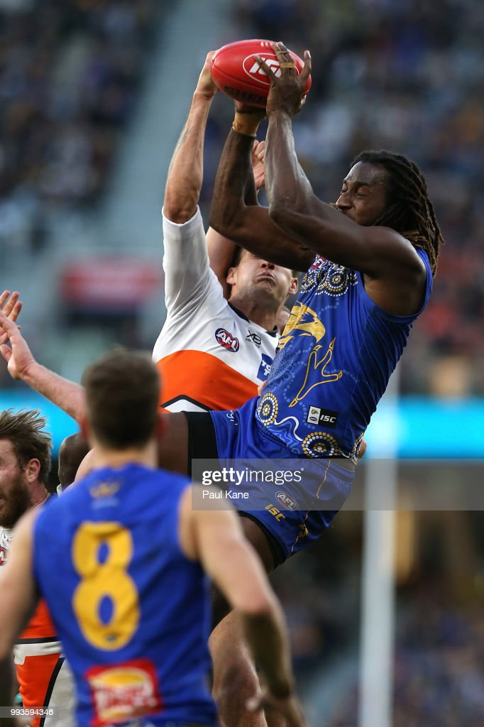 Nic Naitanui of the Eagles marks the ball during the round 16 AFL match between the West Coast Eagles and the Greater Western Sydney Giants at Optus Stadium on July 8, 2018 in Perth, Australia.