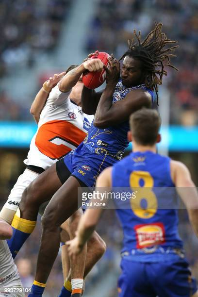 Nic Naitanui of the Eagles marks the ball during the round 16 AFL match between the West Coast Eagles and the Greater Western Sydney Giants at Optus...