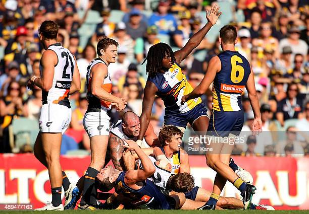 Nic Naitanui of the Eagles pleads to the umpire for a holding the ball decision during the round eight AFL match between the West Coast Eagles and...