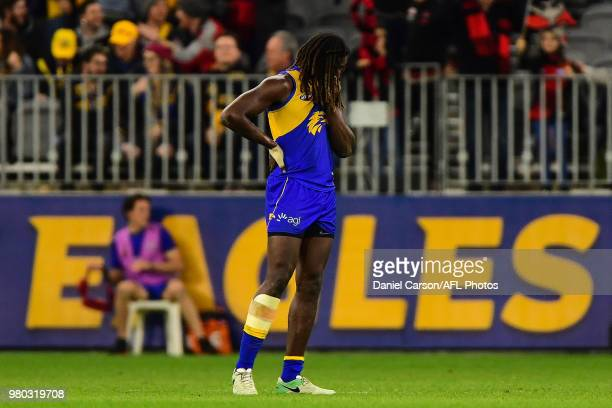 Nic Naitanui of the Eagles rues the loss at the final siren during the 2018 AFL round 14 match between the West Coast Eagles and the Essendon Bombers...