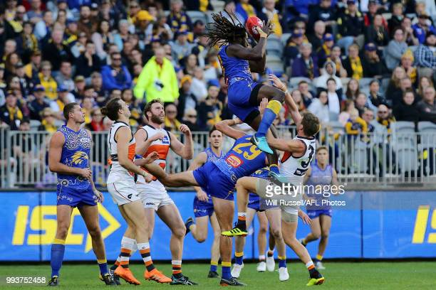Nic Naitanui of the Eagles takes an overhead mark during the round 16 AFL match between the West Coast Eagles and the Greater Western Sydney Giants...