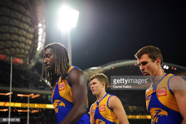 Nic Naitanui of the Eagles walks from the ground after the round 15 AFL match between the Adelaide Crows and the West Coast Eagles at Adelaide Oval...