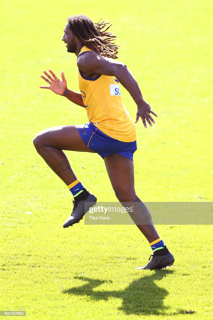 Nic Naitanui undertakes running drills during a West Coast Eagles AFL training session at Domain Stadium on August 14, 2017 in Perth, Australia.
