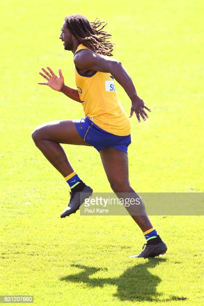 Nic Naitanui undertakes running drills during a West Coast Eagles AFL training session at Domain Stadium on August 14 2017 in Perth Australia