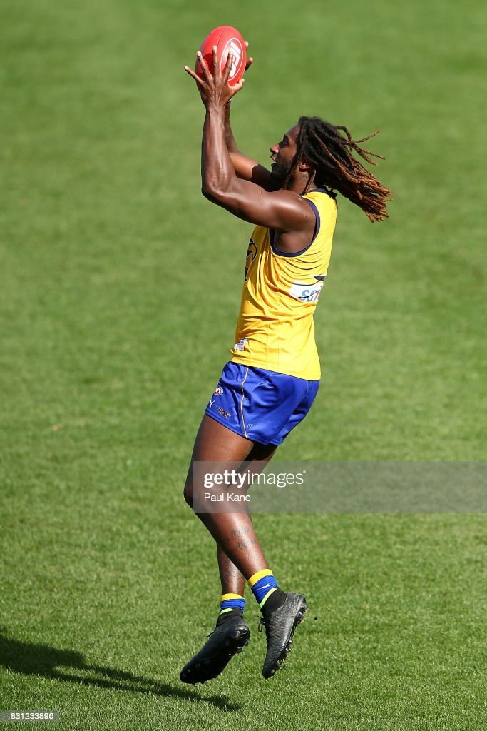 Nic Naitanui works on leading and marking drills during a West Coast Eagles AFL training session at Domain Stadium on August 14, 2017 in Perth, Australia.