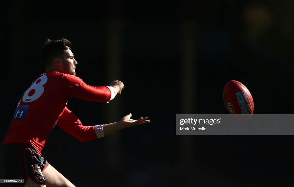 Nic Newman of the Swans handpasses the ball during a Sydney Swans AFL training session at Sydney Cricket Ground on June 26, 2017 in Sydney, Australia.