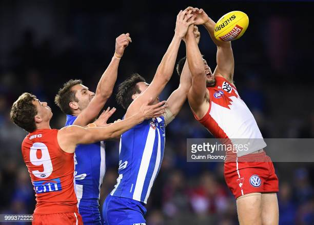 Nic Newman of the Swans marks during the round 17 AFL match between the North Melbourne Kangaroos and the Sydney Swans at Etihad Stadium on July 15...