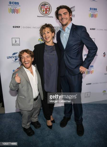 Nic Novicki, R.J. Mitte, Gabrielle Carteris arrive at the 2018 Opening Night of ReelAbilities Film Festival at Wolf Theatre on October 11, 2018 in...