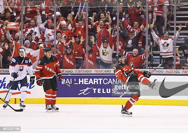 Nic Petan of Team Canada celebrates his 3rd goal of the game against Team Slovakia during a semi-final game in the 2015 IIHF World Junior Hockey...
