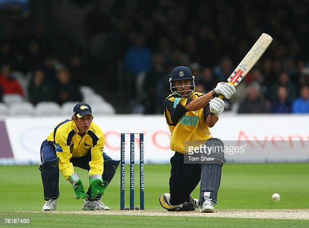 Nic Pothas of Hampshire hits out during the Friends Provident Trophy Final between Hampshire Hawks and Durham Dynamos at Lords on August 18 2007 in...