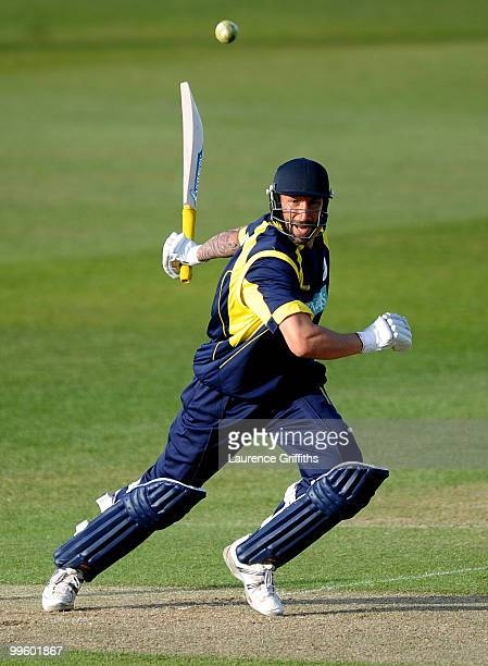 Nic Pothas of Hampshire hits out to the boundary during the Clydesbank Bank 40 League match between Nottinghamshire Outlaws and Hampshire Royals at...