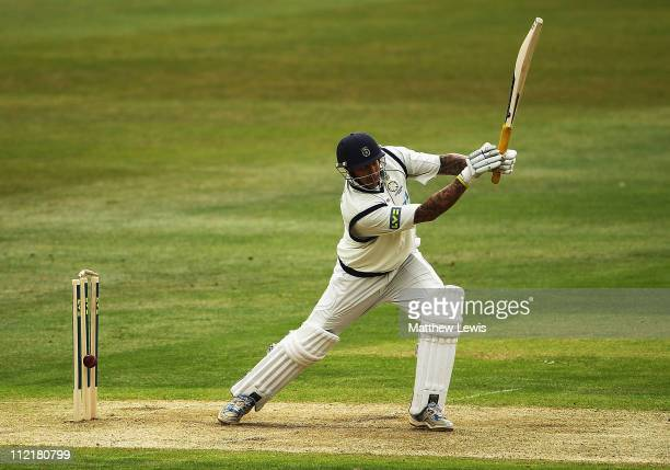 Nic Pothas of Hampshire looks on after he is bowled by Charlie Shreck of Nottinghamshire during the LV County Championship Division One match between...