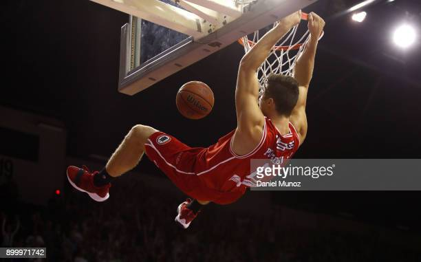Nic Pozoglou of the Hawks dunks the ball during the round 12 NBL match between the Illawarra Hawks and the Brisbane Roar at Wollongong Entertainment...