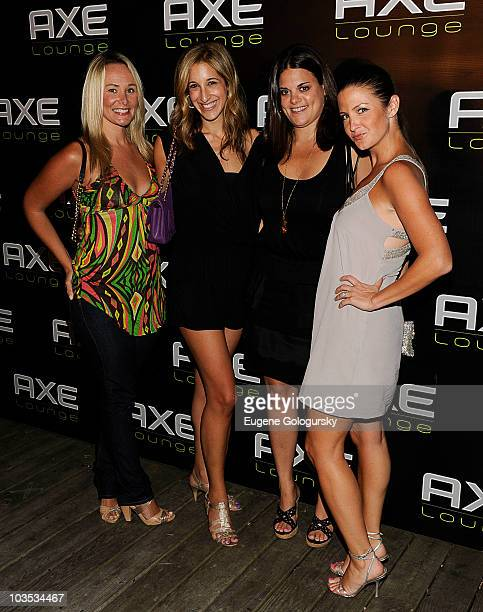 Nic Screws, Andrea Lavinthal, Daniellle Garrod and Heather Mitchell attend AXE Lounge on August 21, 2010 in Southampton, New York.