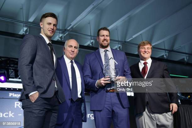 Nic Shimonek Cosmo DeNicole Ryan Leaf and Leigh Steinberg pose onstage during Leigh Steinberg Super Bowl Party 2018 on February 3 2018 in Minneapolis...