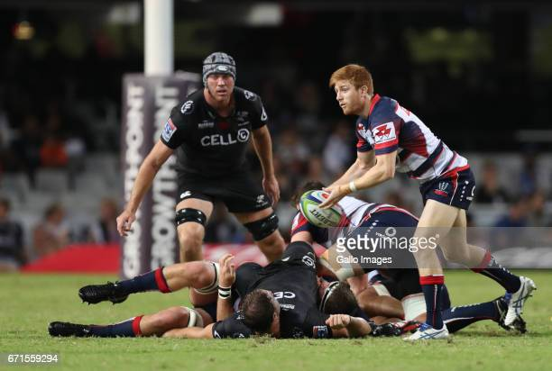 Nic Stirzaker of the Melbourne Rebels during the Super Rugby match between Cell C Sharks and Rebels at Growthpoint Kings Park on April 22 2017 in...