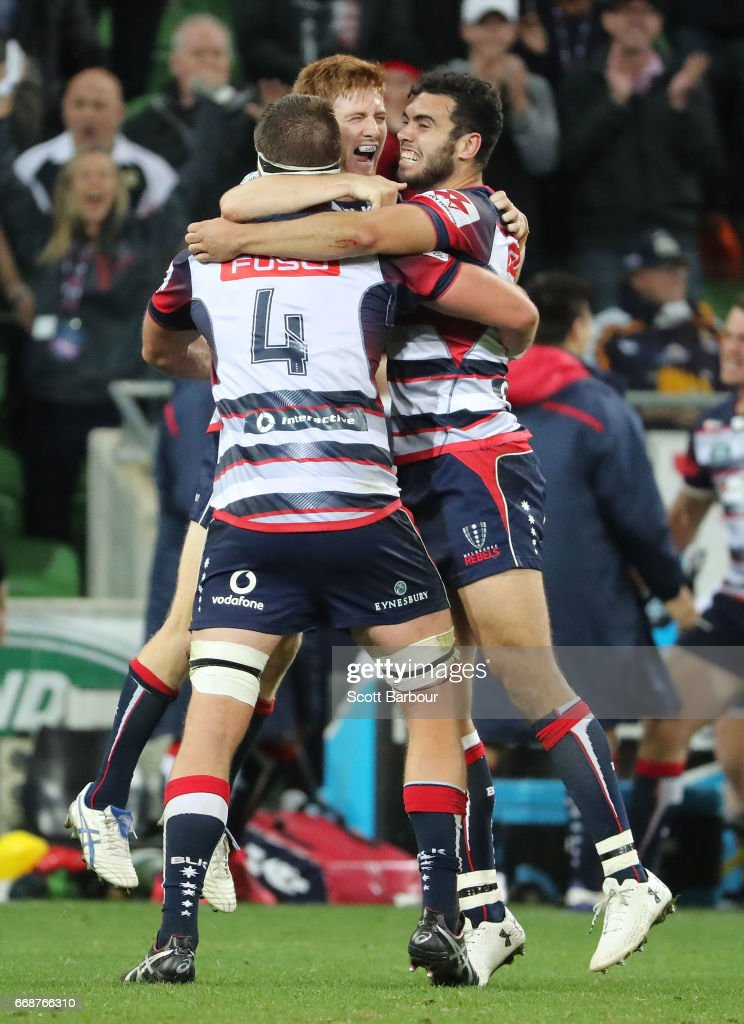 Nic Stirzaker of the Rebels and his teammates celebrate at the full time whistle as they win the round eight Super Rugby match between the Rebels and the Brumbies at AAMI Park on April 15, 2017 in Melbourne, Australia.