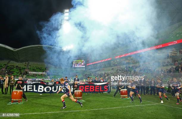 Nic Stirzaker of the Rebels leads his side onto the field during the round 17 Super Rugby match between the Melbourne Rebels and the Jaguares at AAMI...