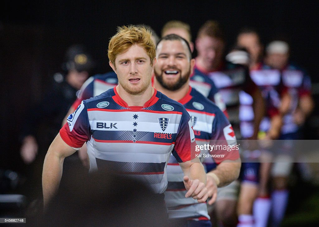 Nic Stirzaker of the Rebels leads his team onto the field prior to the round 16 Super Rugby match between the Crusaders and the Rebels at AMI Stadium on July 9, 2016 in Christchurch, New Zealand.
