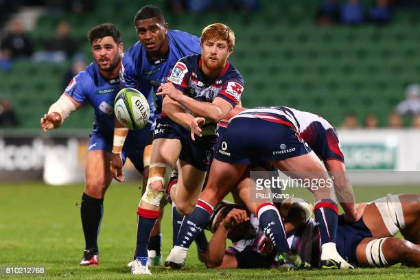 Nic Stirzaker of the Rebels passes the ball during the round 16 Super Rugby match between the Force and the Rebels at nib Stadium on July 7 2017 in...