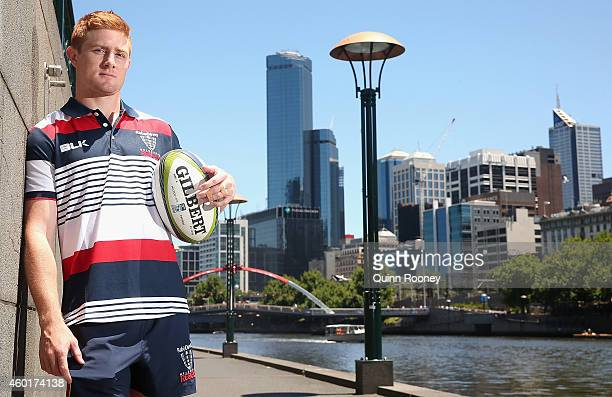 Nic Stirzaker of the Rebels poses during a Melbourne Rebels Super Rugby media opportunity on the Yarra River on December 9 2014 in Melbourne...