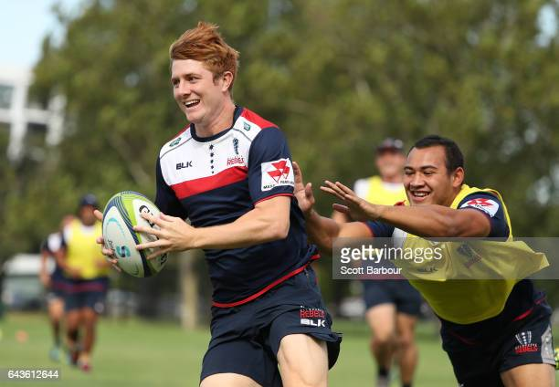 Nic Stirzaker of the Rebels runs with the ball during a Melbourne Rebels Super Rugby training session at Gosch's Paddock on February 22 2017 in...