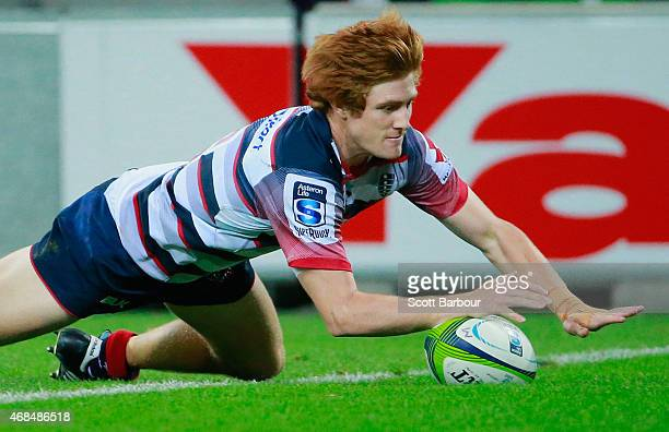 Nic Stirzaker of the Rebels scores a try during the round eight Super Rugby match between the Rebels and the Reds at AAMI Park on April 3 2015 in...
