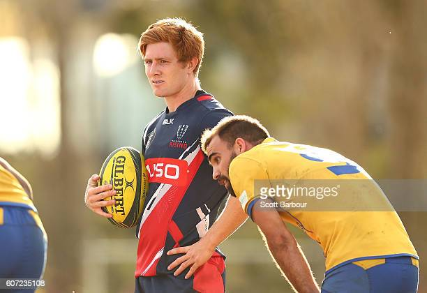 Nic Stirzaker of the Rising and Nick Frisby of City look on during the round four NRC match between Melbourne Rising and Brisbane City at Harlequins...