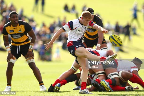 Nic Stirzaker of the Rising clears the ball from a scrum during the round one NRC match between Perth Spirit and Melbourne Rising at McGillivray Oval...