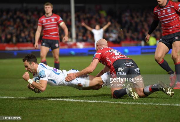 Nic White of Exeter Chiefs scores the opening try during the Gallagher Premiership Rugby match between Gloucester Rugby and Exeter Chiefs at...