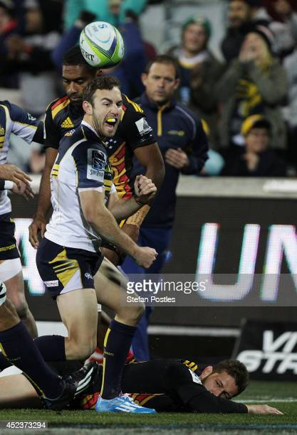 Nic White of the Brumbies celebrates after scoring a try during the Super Rugby Qualifying FInal match between the Brumbies and the Chiefs at GIO...
