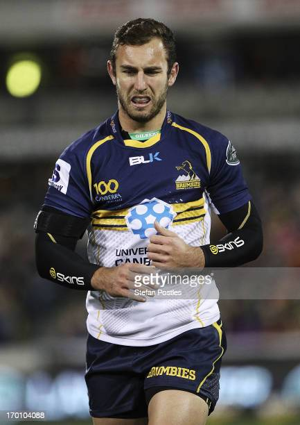 Nic White of the Brumbies comes off injured during the round 17 Super Rugby match between the Brumbies and the Rebels at Canberra Stadium on June 7,...