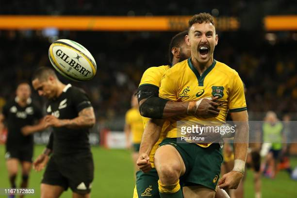 Nic White of the Wallabies celebrates a try during the 2019 Rugby Championship Test Match between the Australian Wallabies and the New Zealand All...